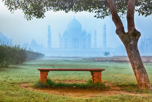 taj mahal in fog india