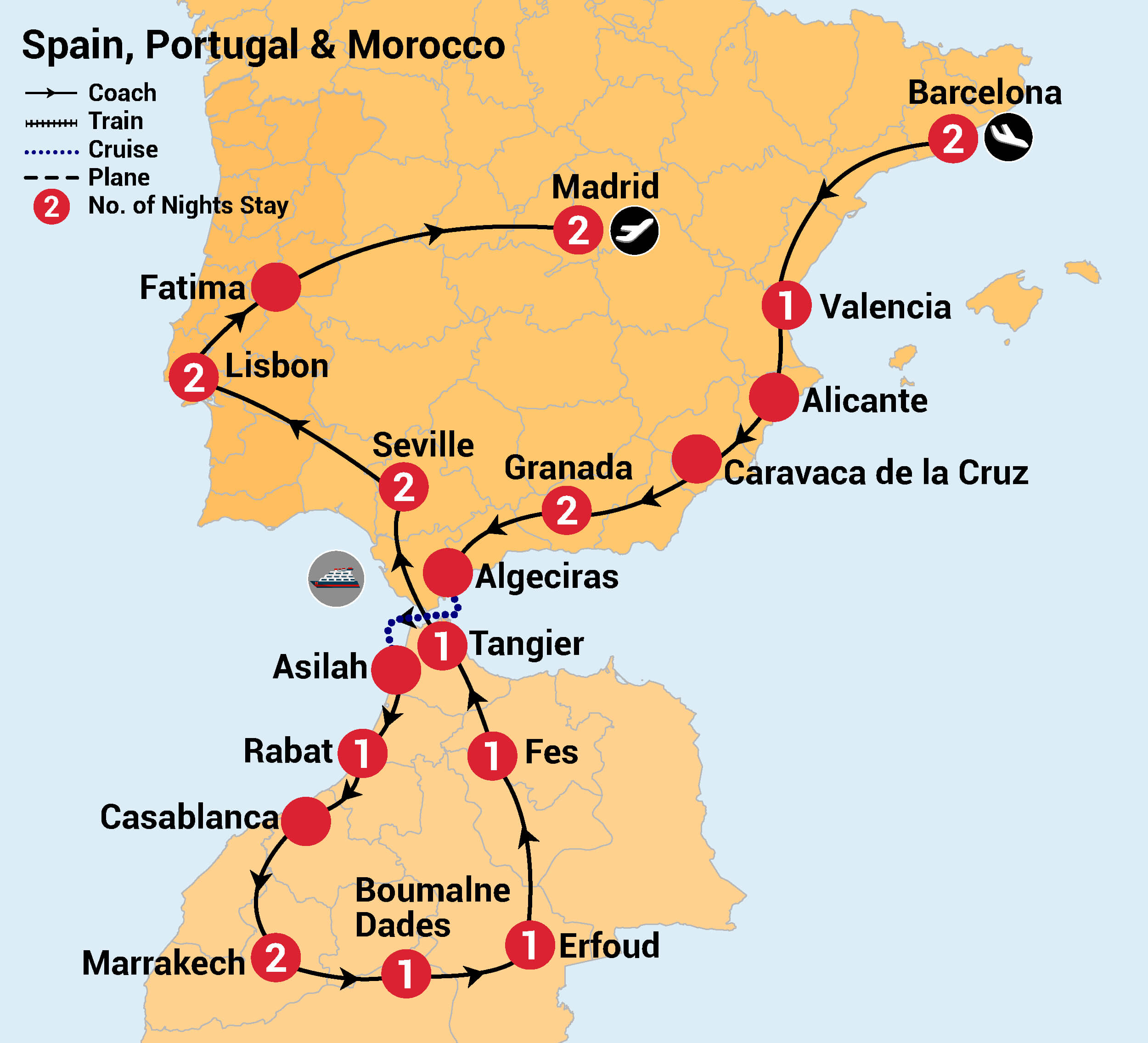 Detailed Map Of Spain Portugal And Morocco.21 Day Spain Portugal Morocco Inspiring Vacations