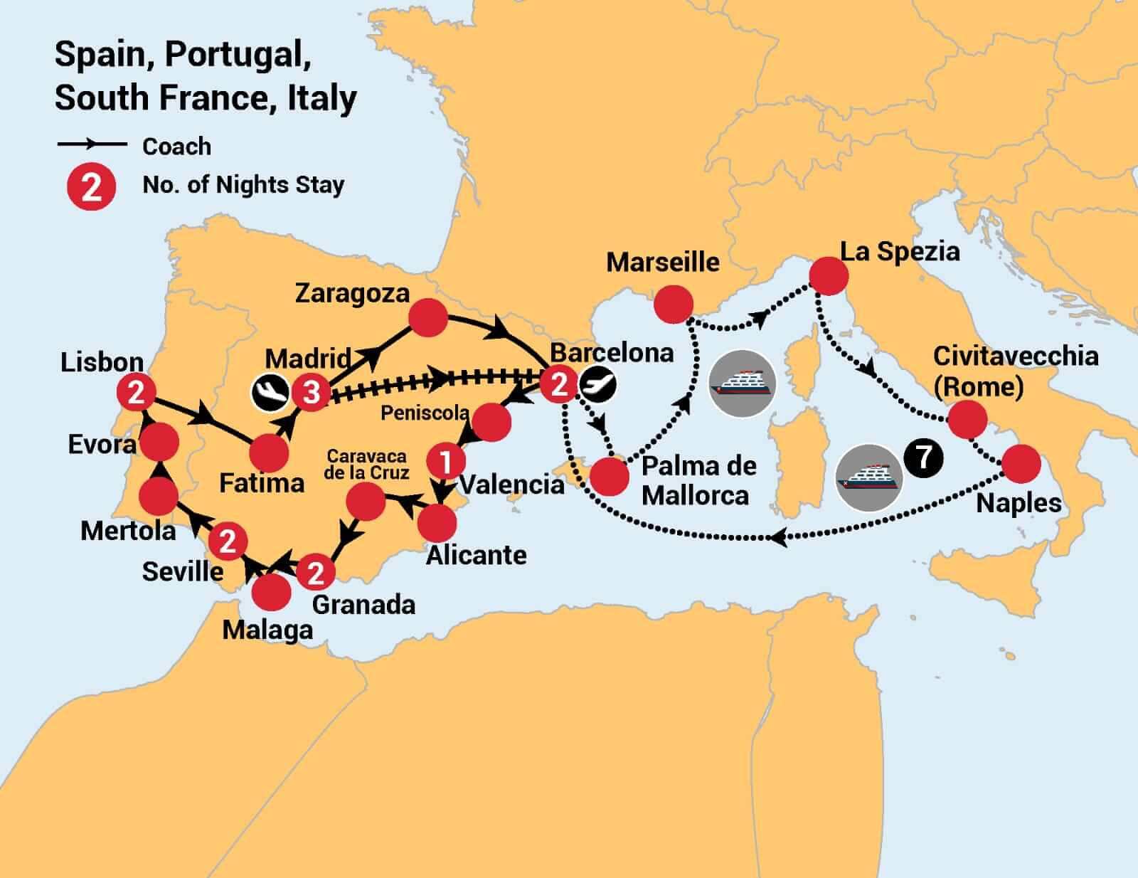 Spain Portugal Cruise Map