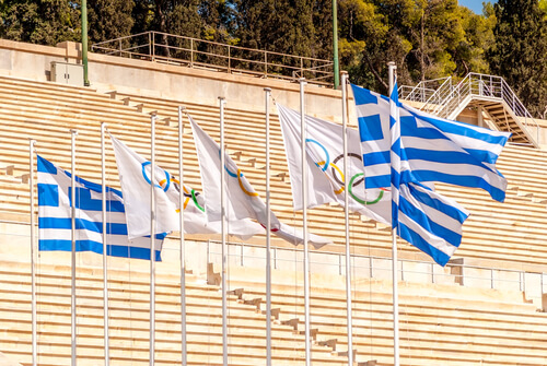 Flags at the Panathenaic Stadium