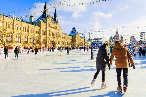 ice rink red square moscow russia