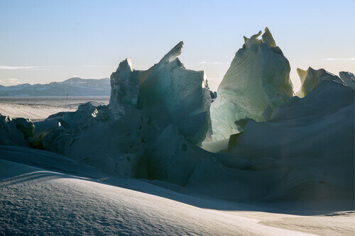 Ice formations or pressure ridges at Scott Base in Antarctica