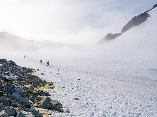 People hiking up and down snow slope of Spigot Peak in mist Graham Land Antarctic Peninsula Antarctica