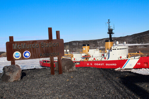 Mcmurdo Station with US Coast Guard in Antarctica
