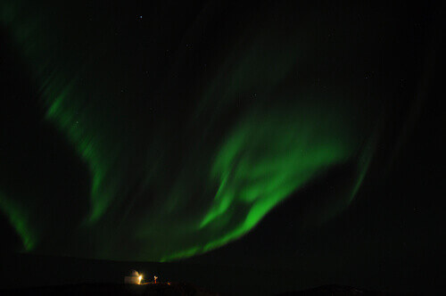 The Aurora Borealis above the station in Antarctica