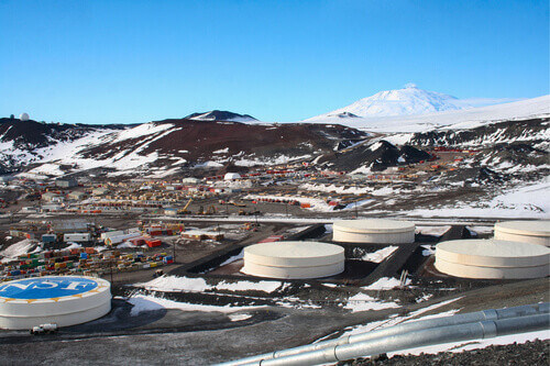 View of a research station with Mount Erebus in Mcmurdo Station Antarctica