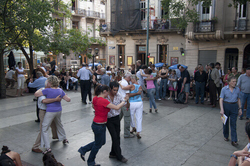 People dancing in Plaza Dorrego in San Telmo Buenos Aires Argentina