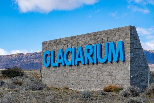Sign at the entrance of Glaciarium museum in Patagonia El Calafate Argentina
