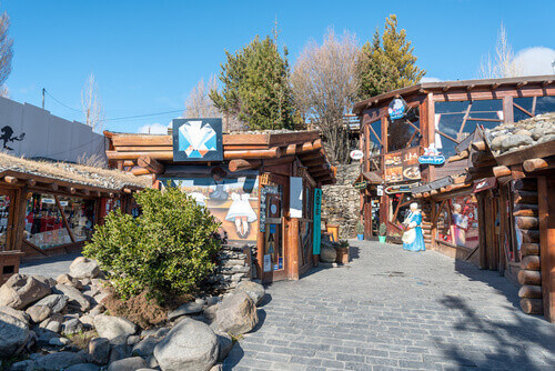 Souvenir and artisan shops in the centre of El Calafate in Patagonia El Calafate Argentina