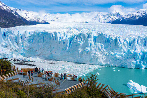 Tourists visiting Perito Moreno Glacier in the Los Glaciares National Park in Patagonia El Calafate Argentina