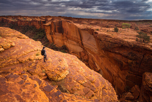 Man travels in Kings canyon of Northern territory of Australia