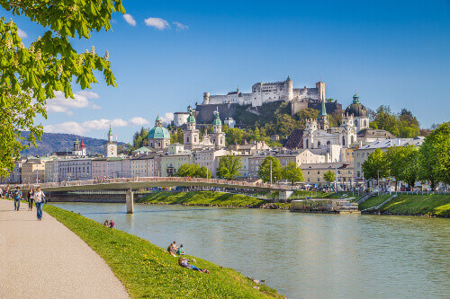 Beautiful view of Salzburg skyline with Festung Hohensalzburg and Salzach river in Salzburg Austria