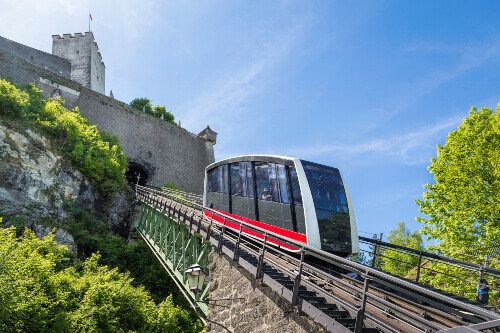 Cable railway, fortress funicular to the Hohensalzburg castle in Salzburg Austria