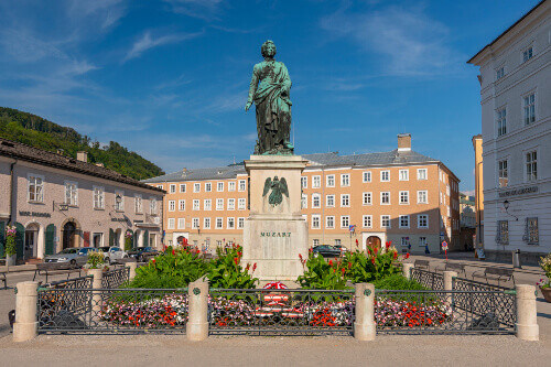 Wolfgang Amadeus Mozart monument statue at the Mozartplatz square in Salzburg, Austria