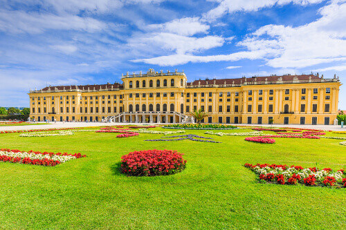 Schonbrunn Palace with gardens. The former imperial summer residence is a UNESCO World Heritage site in Vienna Austria
