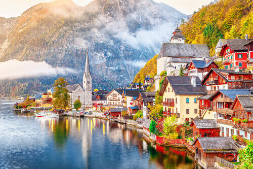 Hallstatt village on the bank of Hallstatter lake in High Alps mountains in Austria