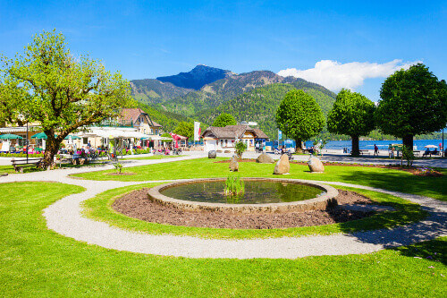 Public park in St. Gilgen village, Salzkammergut region of Austria. St. Gilgen located at Wolfgangsee Lake