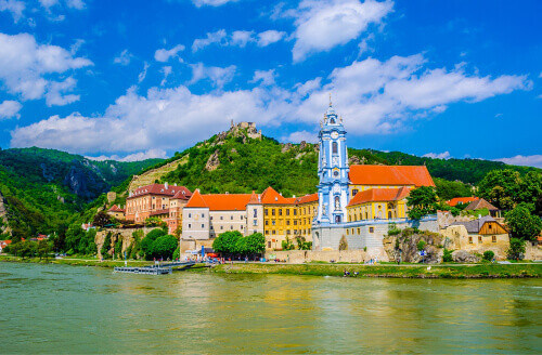 The medieval town of Durnstein along the Danube River in the picturesque Wachau Valley, a UNESCO World Heritage Site, in Austria