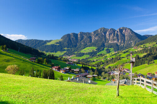 The village of Inneralpbach in Alpbach Valley Austria