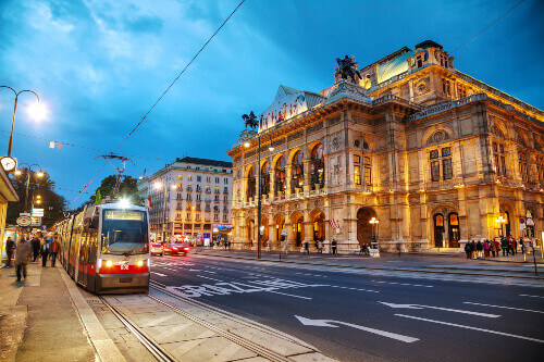 Vienna State Opera at night in Vienna Austria