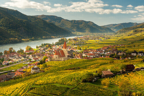 Weissenkirchen Wachau Austria in autumn colored leaves and beautiful organic vineyards