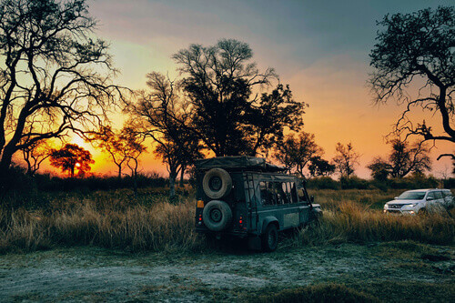 Old fashioned off road vehicle pulls 4x4 SUV out of swamp area at sunset Moremi National Park in Okavango Delta Botswana