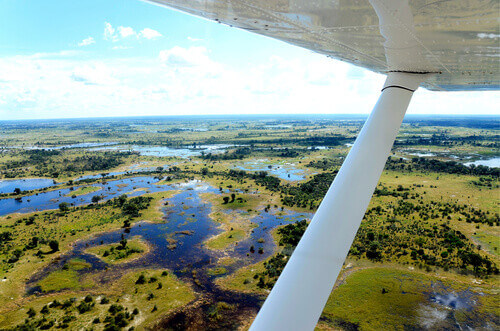 The view from an aircraft flying over the Okavango delta in Botswana