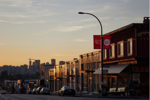 Commercial Drive Shops at Sunset