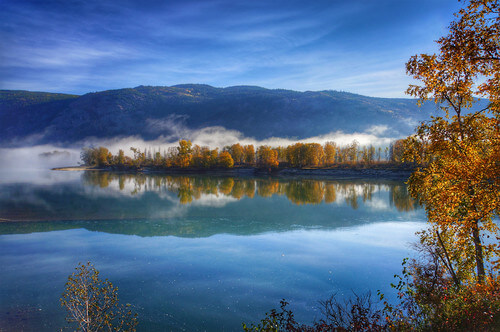 Beautiful autumn morning at the Blue River near North Thompson river in British Columbia Canada