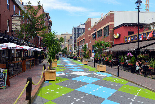 Argyle Street is famous for its trendy bars and restaurants, with a new Argyle paint job in Halifax, Nova Scotia Canada
