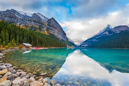 Beautiful autumn views of iconic Lake Louise in Banff National Park in Alberta Canada