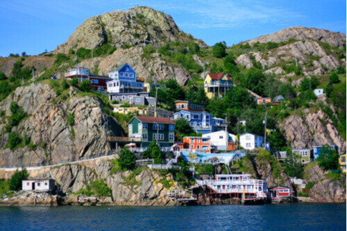 Colorful houses located on the hill in Saint Johns Newfoundland