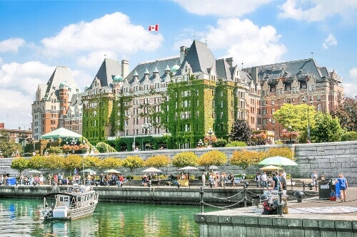 Beautiful view of Inner Harbour of Victoria, in Vancouver Island British Columbia Canada