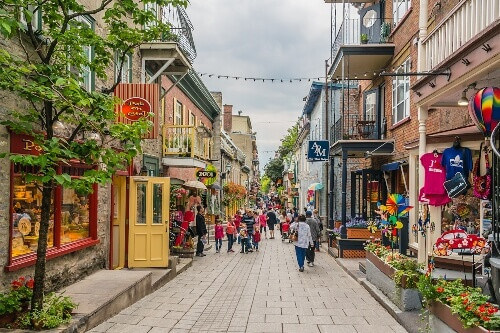 View of Old Montreal street with shops and restaurants in Quebec Montreal Canada