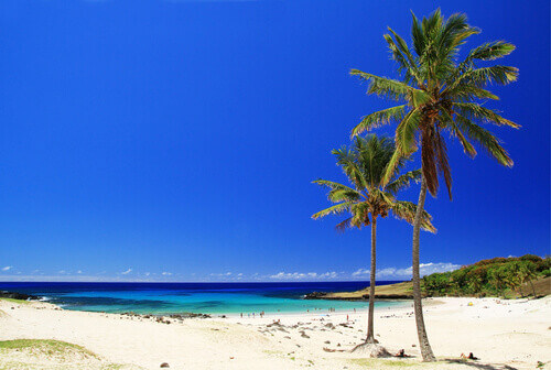 White sand beach in Easter island in Chile