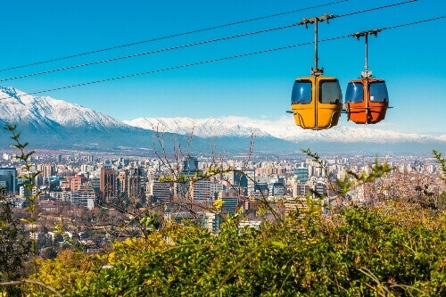 Cable car in San Cristobal hill overlooking a panoramic view of Santiago de Chile