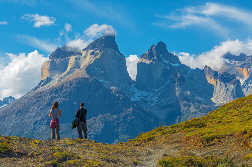 Tourists enjoying the view of the granite peaks in Torres del Paine national park near Puerto Natales in Patagonia, Chile (1)