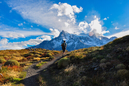 Trekking in Torres del Paine national park in Patagonia Chile