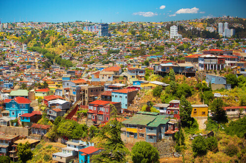 Colourful buildings on the hills of the UNESCO World Heritage city of Valparaiso in Chile