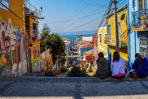 Girls enjoying the streets of Valparaiso in Chile