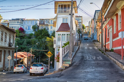 One of the main streets where Valparaiso Cerro Abajo is being held at in Chile