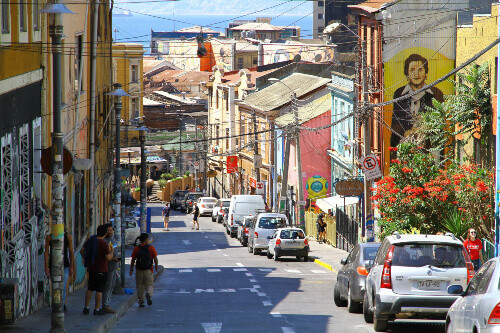 Valparaiso is a colourful and bohemian city full of artistic murals. It is a port city in Chiles coast