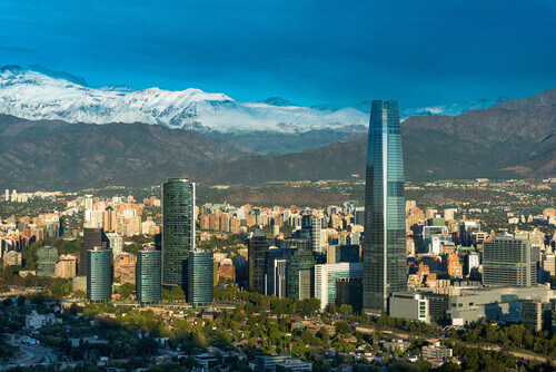 Skyline of Santiago de Chile with modern office buildings at financial district in Las Condes Chile