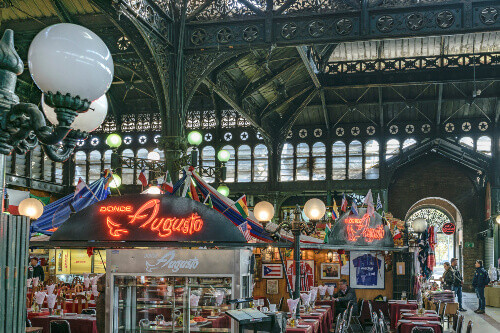 Interior view of Mercado Central, a famous food and drink traditional market of Santiago de Chile