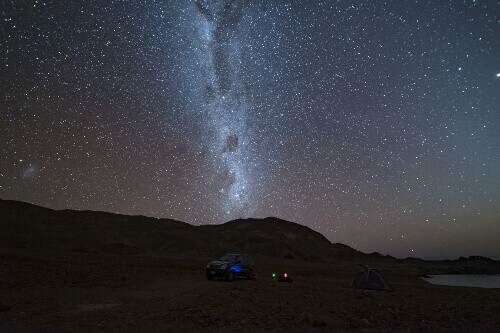The Milky Way is clearly visible at night in the Atacama Desert, Chile.
