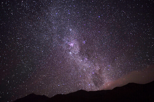 View of the planets and neighboring galaxies in the Milky Way at Cajón del Maipo in Chile.