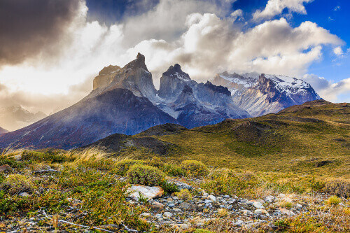Steppes of Torres Del Paine National Park in Chile overlooking the horns of paine in the background