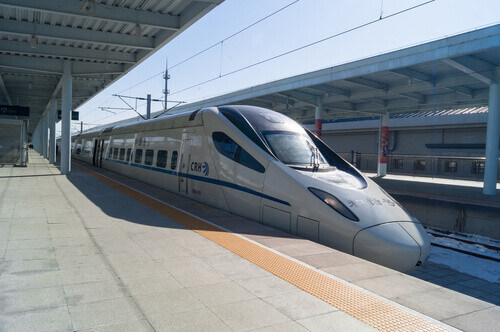 View of a CRH high speed bullet train at the Yanjixi Railway Station in Jilin China