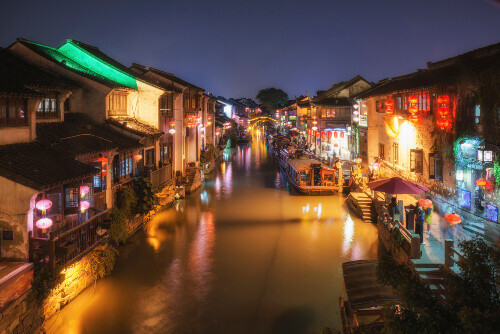Magnificent view of the ancient town of Suzhou in the Evening in Suzhou China