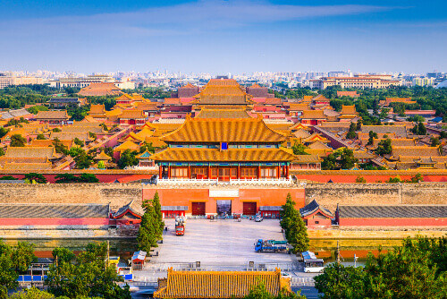 Skyline and buildings surrounding the Forbidden City in Beijing, China